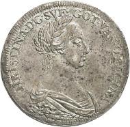Nr. 1987: SCHWEDEN. Christina, 1632-1654. 2 Riksdaler 1649, Stockholm. Aus Slg. Bonde. Äußerst selten. Vorzüglich. Taxe: 100.000,- Euro.