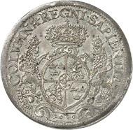 Lot 1987: SWEDEN. Christina, 1632-1654. 2 riksdaler 1649, Stockholm. Ex Bonde Coll. Extremely rare. Extremely fine. Estimate: 100,000,- euros.