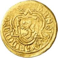 Nr. 3043: BRANDENBURG IN FRANKEN. Johann III., 1404-1420. Goldgulden o. J., Neustadt an der Aisch. Aus Auktion SBV 15 (1986), 277. Unikum. Sehr schön. Taxe: 10.000,- Euro.