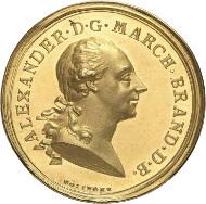 Nr. 4868: BRANDENBURG IN FRANKEN. Christian Friedrich Karl Alexander, 1757-1791. Goldene Verdienstmedaille zu 10 Dukaten o. J. (um 1780) von Johann Samuel Götzinger. Aus Auktion Heidelberger Münzhandlung 11 (1994), 1510. Äußerst selten. Stempelglanz. Taxe: 10.000,- Euro.