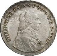 Nr. 5727: SALZBURG. Hieronymus von Colloredo, 1772-1803. Löwentaler 1790. Aus Auktion Leu 75 (1999), 1100. Äußerst selten. Fast Stempelglanz. Taxe: 75.000,- Euro.