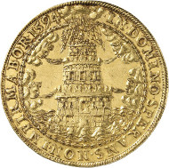 Lot 5581: SALZBURG. Wolf Dietrich of Raitenau, 1587-1612. 10 ducats 1594. Tower coinage. Extremely rare. Extremely fine. Estimate: 100,000,- euros.