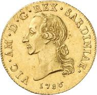 Nr. 6329: ITALIEN. Sardinien. Victor Amadeus III., 1773-1796. 1/2 Carlino zu 2,5 Doppie 1786, Turin. Aus Auktion Künker 207 (2012), 6305. Sehr selten. Vorzüglich. Taxe: 17.500,- Euro.