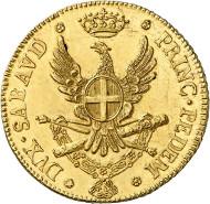 Lot 6329: ITALY. Sardinia. Victor Amadeus III, 1773-1796. 1/2 carlino of 2.5 doppie 1786, Turin. Ex Künker Auction 207 (2012), 6305. Very rare. Extremely fine. Estimate: 17,500,- euros.