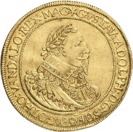 Lot 6914: GERMANY. Nuremberg. 6 ducats 1632, minted under Swedish occupation by Gustavus II Adolphus. Oldenburg Coll., ex Bukowski Auction 113 (1898), 1396. Extremely rare. Very fine to extremely fine. Estimate: 50,000,- euros.