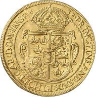 Nr. 6914: ALTDEUTSCHLAND. Nürnberg. 6 Dukaten 1632, geprägt unter schwedischer Besetzung durch Gustav II. Adolf. Slg. Oldenburg, aus Auktion Bukowski 113 (1898), 1396. Äußerst selten. Sehr schön bis vorzüglich. Taxe: 50.000,- Euro.