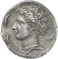 Nr. 8135: GRIECHEN. Sizilien. Syrakus. Dekadrachme, nach 405, signiert von Euainetos. Slg. Virzi, aus Auktion Hirsch 32 (1912), 322. Sehr selten. Vorzüglich. Taxe: 50.000,- Euro.