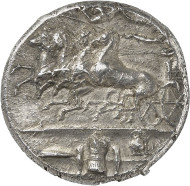 Lot 8135: GREEKS. Sicily. Syracuse. Decadrachm, after 405, signed by Euainetos. Virzi Coll., ex Hirsch Auction 32 (1912), 322. Very rare. Extremely fine. Estimate: 50,000,- euros.