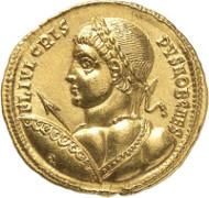Lot 8969: ROMAN IMPERIAL TIMES. Crispus. Solidus, 324, Nicomedia. Mazzini Coll., Vierordt Coll., ex Schulman Auction (1923), 2694. Extremely rare. Extremely fine. Estimate: 100,000,- euros.