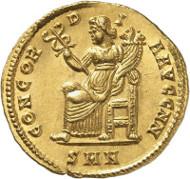 Nr. 8969: RÖMISCHE KAISERZEIT. Crispus. Solidus, 324, Nikomedia. Slg. Mazzini, Slg. Vierordt, aus Auktion Schulman (1923), 2694. Äußerst selten. Vorzüglich. Taxe: 100.000,- Euro.