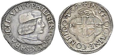 Lot 310: Italy, Savoy. Filiberto II, Duke. 1497-1504. Testone, Turin, mintmaster Giacomo Cassino (1500/1503-1506). CNI I, p. 129, 22. MIR 301. RM 5. Extremely rare. Nearly extremely fine. Estimate: 50'000 CHF.