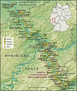 Karte der Region Mittelrhein und Welterbestätte Kulturlandschaft Oberes Mittelrheintal. Lencer / https://en.wikipedia.org/wiki/en:GNU_Free_Documentation_License
