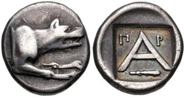 Lot 105: ARGOLIS, Argos. Circa 330-270 BC. Triobol. BCD Peloponnesos 1083.4 var. (club left); HGC 5, 668; Klein 224. Near VF. Ex Dieter Klein Collection (1999), 224. Estimate $100.