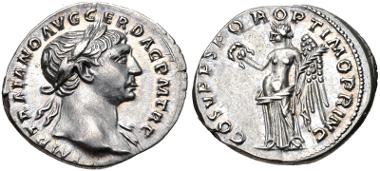 Lot 430: Trajan. AD 98-117. Denarius. Rome mint. Struck circa mid AD 107-108. RIC II 128; Woytek 270b; RSC 74. EF. Estimate $200.