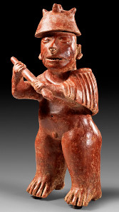 1: Western Mexico. Colima. Ca. 200 B.C. - 300 A.D. Standing warrior. H. 46,1 cm.