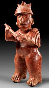 1: Westmexiko. Colima. Ca. 200 v. Chr. - 300 n. Chr. Stehender Krieger. H. 46,1 cm.