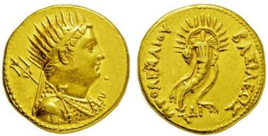 2603: Ägypten. Ptolemaios IV. Philopatoros. 221-204 v. Chr. Gold-Oktodrachme.