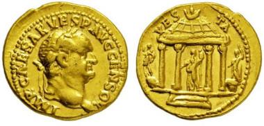 2732: Roman Empire. Vespasianus. 69-79 A.D. Aureus.