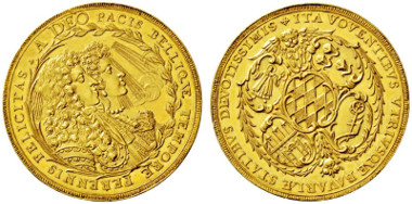 3588: Bavaria. Maximilian II. Emanuel. 1679-1726. Munich. 5 Ducat. Present of the Bavarian estates for the wedding of the prince-elector in 1685.