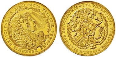 3588: Kurfürstentum Bayern. Maximilian II. Emanuel. 1679-1726. München. 5 Dukaten Präsent der Bayerischen Stände zur ersten Vermählung des Kurfürsten 1685.