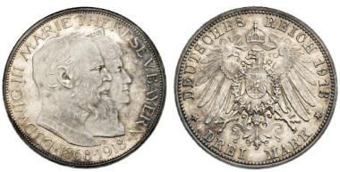 4257: Bavaria. Ludwig III. 1913-1918, Munich. 3 Mark 1913 (sic !) D.