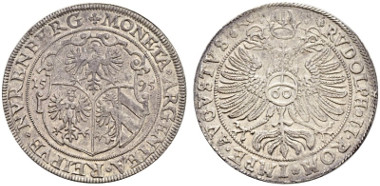 2011: Reichsguldiner 1595. Imhof S. 545, 78. Kellner 146, Dav. Appendix A 10038. Of the highest rarity. Unique. Good extremely fine. CHF 15'000.