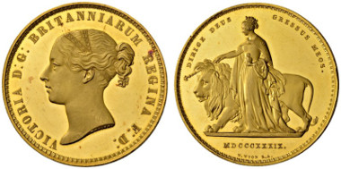 2030: Victoria, 1837-1901 5 Pounds 1839. Una and the Lion. Seaby 3851. Schl. 148. Fr. 386. Very rare, only 400 specimens struck. Proof. Brilliant uncirculated (NGC PF61 Ultra Cameo). CHF 100'000.