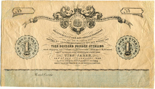 2110: 2110. South Africa. Griqualand-East. 1 Pound 1868. Very fine. CHF 5'000.
