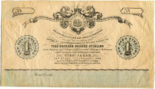 2110: Südafrika. Griqualand-Ost. 1 Pfund 1868. Sehr schön. CHF 5'000.