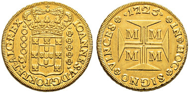 2550: Brazil. 20000 Reis 1725. Rare. Almost extremely fine-extremely fine. CHF 9'000.