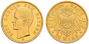 2876: Bavaria. 20 Mark 1913. Very rare. Almost extremely fine-extremely fine. CHF 18'000.