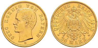 2876: Bayern. 20 Mark 1913. Äußerst selten. Fast vorzüglich-vorzüglich. CHF 18'000.