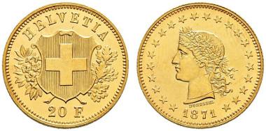 3939: Schweiz. Probe-20 Franken 1871. Durussel. Sehr selten. Vorzüglich-FDC. CHF 15'000.