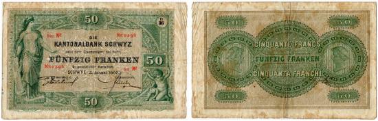 5439: Schweiz. Kantonalbank Schwyz. 50 Franken vom 2. Jan. 1902. Sehr schön. CHF 5'000.