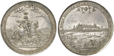 Breisach. Silver medal, 1639 (by S. Dadler). On the capture of the besieged city by Duke Bernhard of Saxe-Weimar on December 3, 1638. Auction sale Künker 242 (2013), 3463.