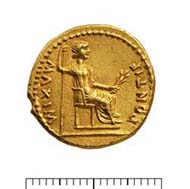 13 (17) RIC I2, 25. Tiberius, Aureus, Lyon 16-21 n. Chr., Gewicht: 7,815. Vs: Jugendliches Porträt mit Lorbeerkranz. Rs: Sitzende Frau mit Zweig und Szepter.