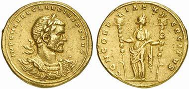 Goldmedaillon des Claudius II. Goticus (268-270), Mediolanum (Mailand), Brustbild mit Inschrift IMP.C.M.AVRL.CLA-VDIVS.P.F.AVG Revers: CONCORDIA.EX-ERCITVS und Concordia, 39,19 g, Künker, Osnabrück, Auktion 12. März 2010 (Taxe Euro 50.000. Zuschlag 54.000 Euro.).