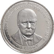 The Isle of Man's first crown coin produced by Pobjoy Mint - issued in celebration of the 100th anniversary of Sir Winston Churchill, a front-facing portrait with an elaborate border and a denomination of one Crown.