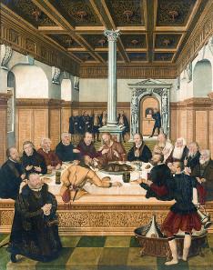 Das letzte Abendmahl von Lucas Cranach d. J., der Mundschenk im Bild rechts wird als Selbstporträt des Malers gedeutet. Quelle: Wikipedia.