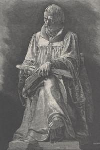 Statue of Gáspár Károlyi in Gönc, engraving by Gusztáv Morelli, 1890.