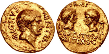 Lot 1812: The Pompeians. Sextus Pompey. 37/6 BC. Aureus. Uncertain Sicilian mint. Crawford 511/1; RBW 1783. VF. Very rare. Duplicate from the collection of M. A. Armstrong. Estimate $25,000.