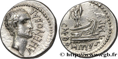 brm_362148: Domitius Ahenobarbus, Denarius, 41 B.C. EF. Estimate: 4,500 euros.