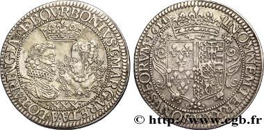 bfe_357628: François de Bourbon und Margarete von Lothringen, Silbertaler, 1614. Sehr schön. Schätzpreis: 7.000 Euro.