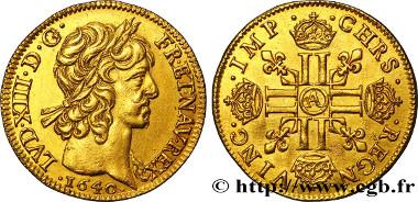 bry_361779: Ludwig XIII., Louis d'or à la mèche courte, Paris, 1640, Monnaie du Louvre. Vorzüglich. Schätzpreis: 5.000 Euro.