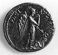 17 (23) RIC I2, 38. Claudius, Aureus, Rom 47 n. Chr., Gewicht: 7,835 g. Vs: Porträt des Claudius mit Lorbeerkranz. Rs: Geflügelte Pax-Nemesis mit Schlange