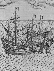 Levinus Hulsius, Kaperung der Cacafuego. Kupferstich, 1626. Quelle: Wikicommons.