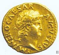 18 (25) RIC I2, 59. Nero, Aureus, Rom 64-68 n. Chr., Gewicht: 7,375 g. Vs: Bärtiges Porträt mit Lorbeerkranz. Rs: Sitzende Salus mit Schale.