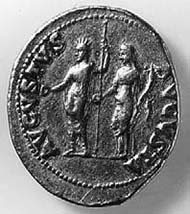 19 (26) RIC I2, 44. Nero, Aureus, Rom 64-68 n. Chr., Gewicht: Vs: Portrait des Nero. Rs: Kaiser und Kaiserin als