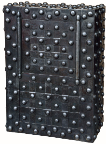 Großnietentresor Frankreich um 1815. Hersteller: Perreymond/Marseille. Größe: 102 x 73 x 50 cm. Gewicht: 200 kg. 3 Hohlschlüssel original.