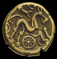 Iron Age Coin. Gold. Ruscombe, Berkshire, England, 50-20 BC. © The Trustees of the British Museum.